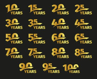 Isolated golden color numbers with word years icons collection on black background, birthday anniversary greeting card elements set vector illustration.