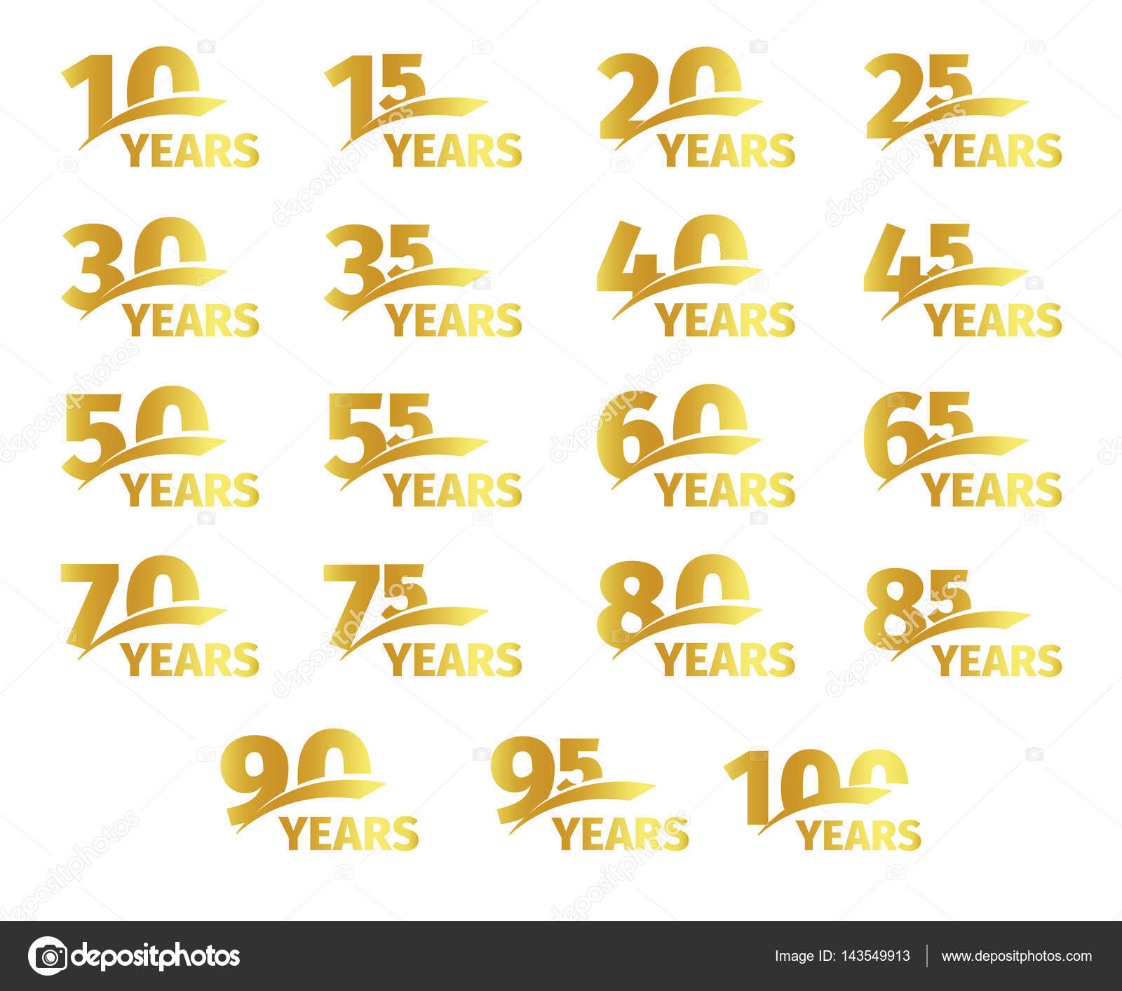 Isolated golden color numbers with word years icons collection on isolated golden color numbers with word years icons collection on white background birthday anniversary greeting kristyandbryce Choice Image