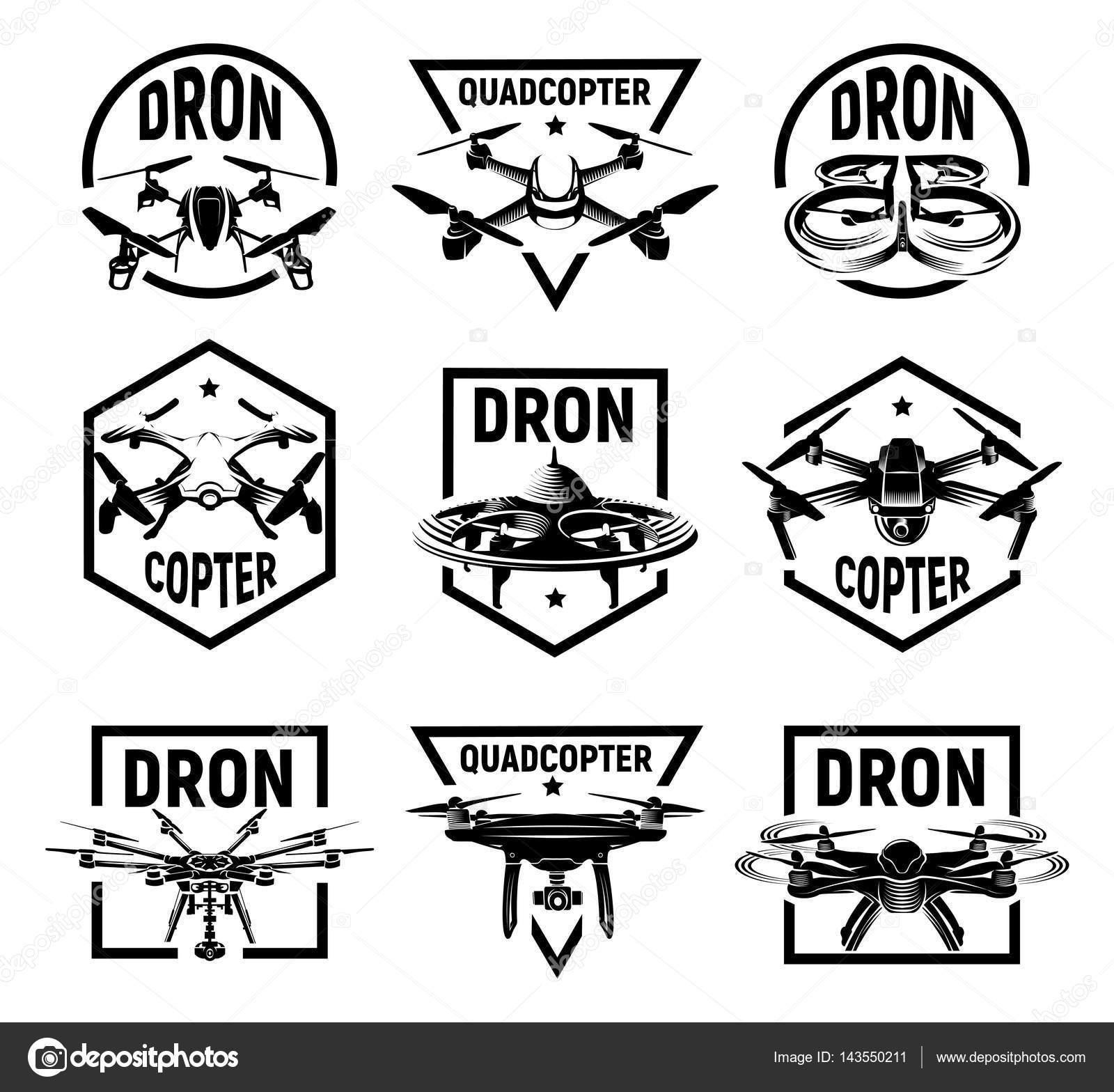 Iconos aislados quadcopter monocromo en marcos, colección de ...