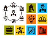 Set di icone isolato elettricista professionista, attrezzature e strumenti loghi collezione, elettricità pittogramma elementi vettore illustrazione