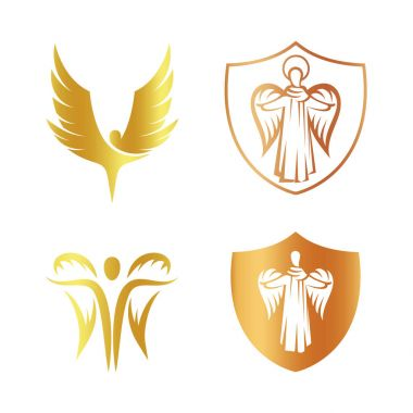 Isolated golden color angel silhouette logo set, shield with religious element logotype collection,coat of arm with archangel vector illustrations on white.