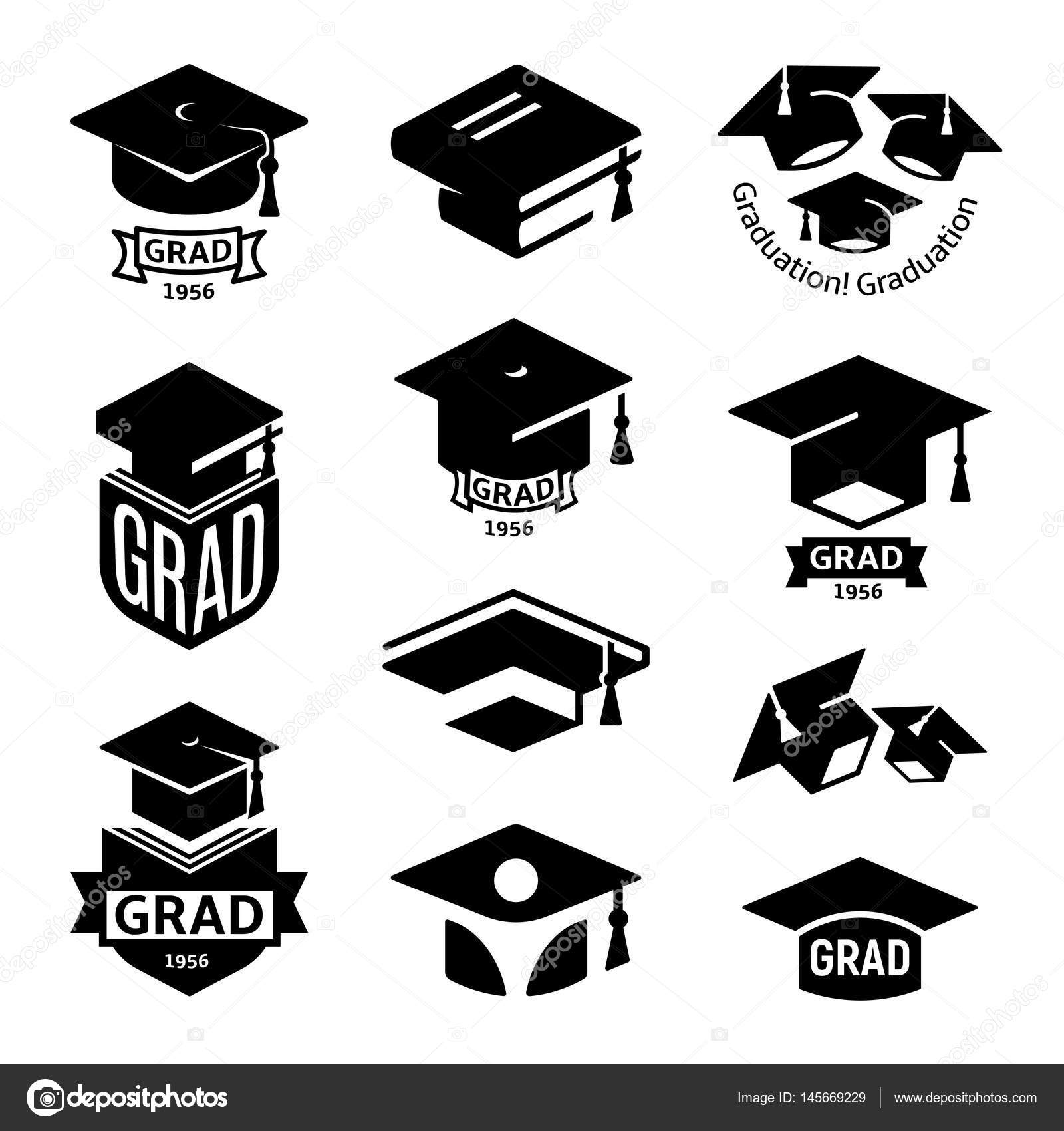 Isolated Black And White Color Students Graduation Hat