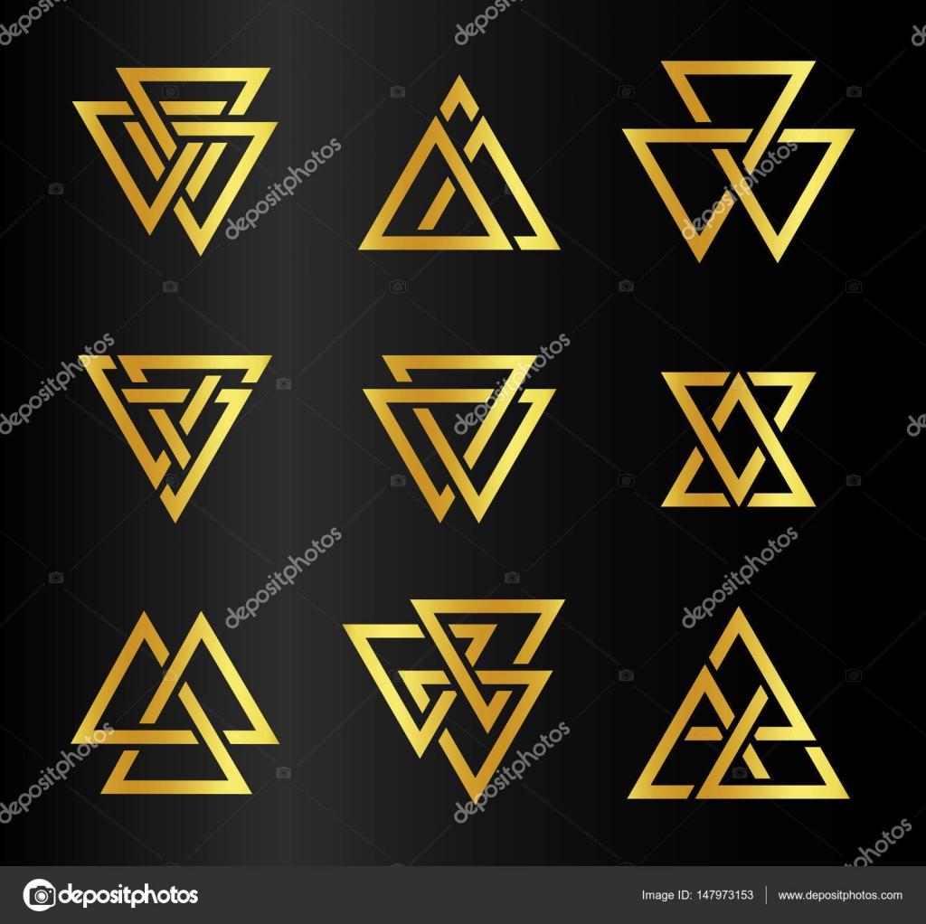 Top dorée abstraite isolée triangles contour logo ensemble sur fond  DV85