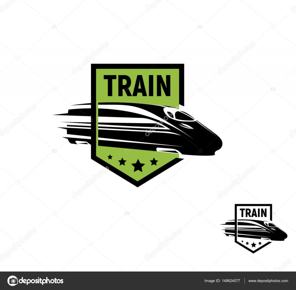 Isolated abstract black color train in green frame logo on white ...