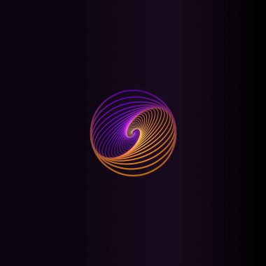 Isolated abstract colorful round shape logo, space element, swirl logotype, planet icon on black background vector illustration