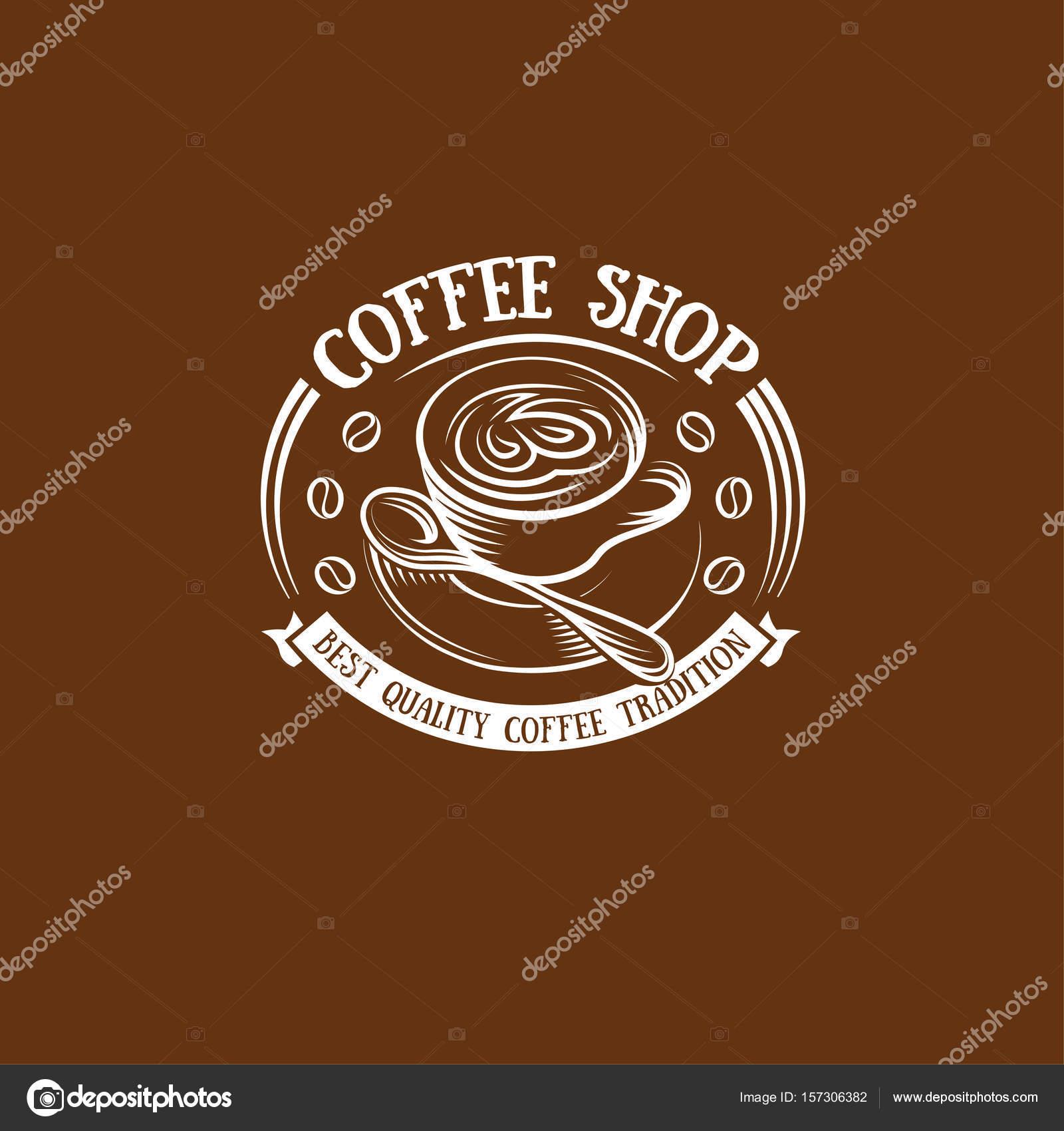 Taza De Color Marron Aislada En El Logo De Estilo Retro Logotipo - El-color-marron