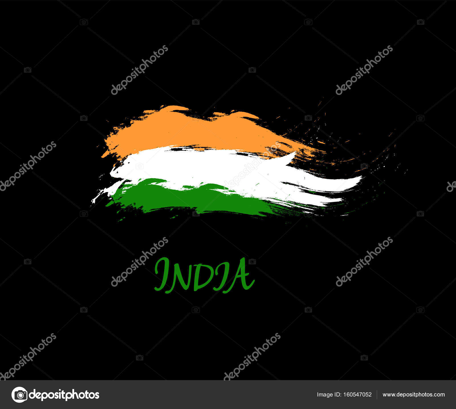 Independence Day Of India Hand Drawn Sign On Black Background