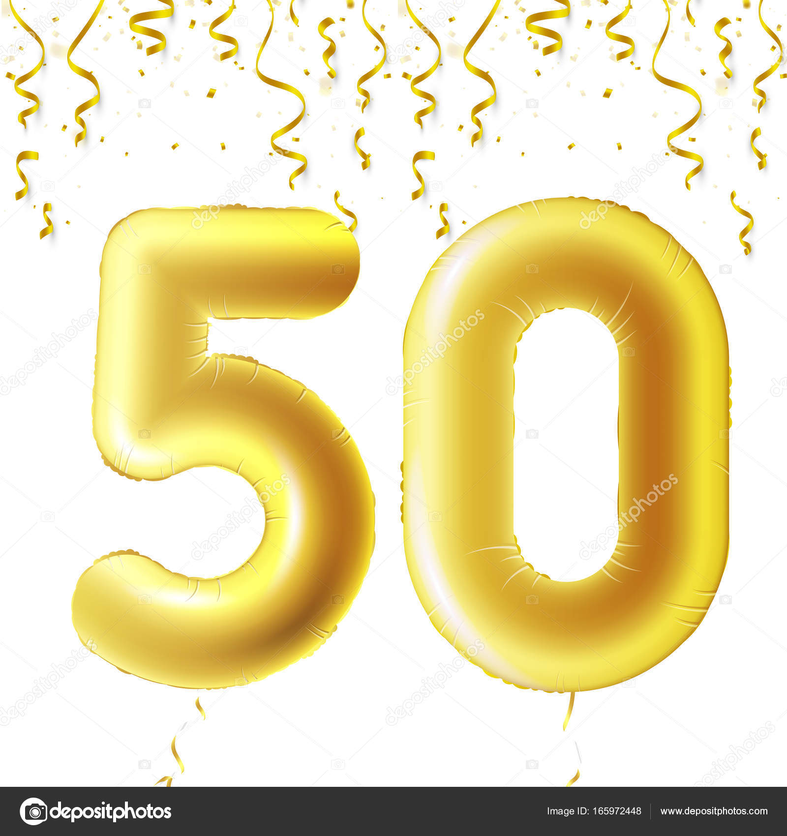 Inflatable golden balls with falling confetti and hanging ribbons inflatable golden balls with falling confetti and hanging ribbons fifty years symbol 50 buycottarizona Choice Image