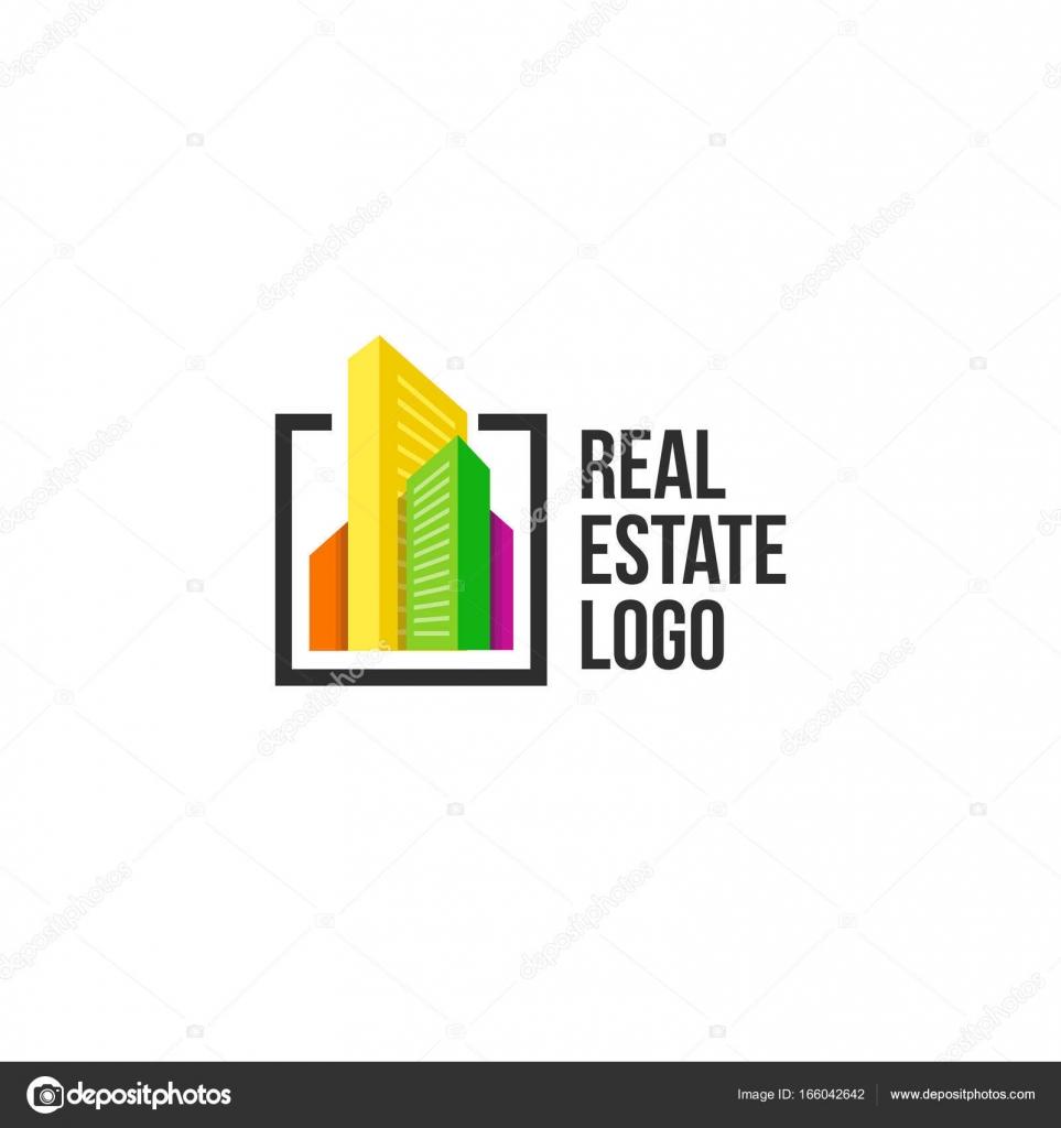 Bunte Stadtbild Logo set in schwarzem Rahmen. Neue Gebäude-Logo ...