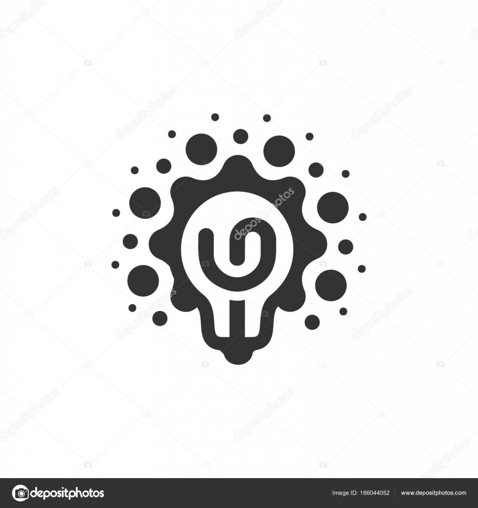 Monocromático Estilizado Lâmpadas Logotipo Novo Símbolo