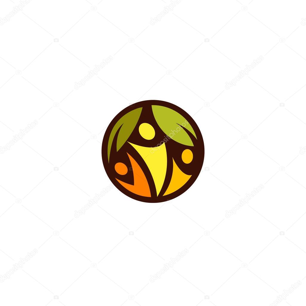 Green leaves with abstract silhouette of yellow, orange and red color peoples in the dark circle. Health promotion sign. Family tree icon. Healthcare lifestyle logo. Proper nutrition label