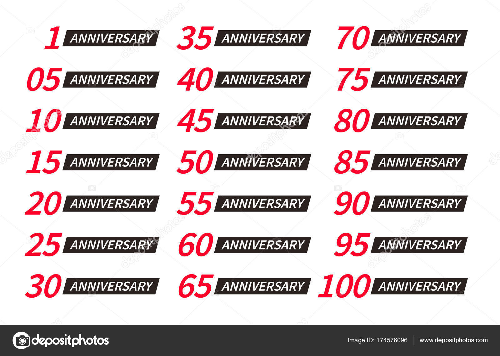 Isolated red and black color numbers with word years icons isolated golden color numbers with word years icons collection on white background birthday anniversary greeting card elements set vector illustration m4hsunfo