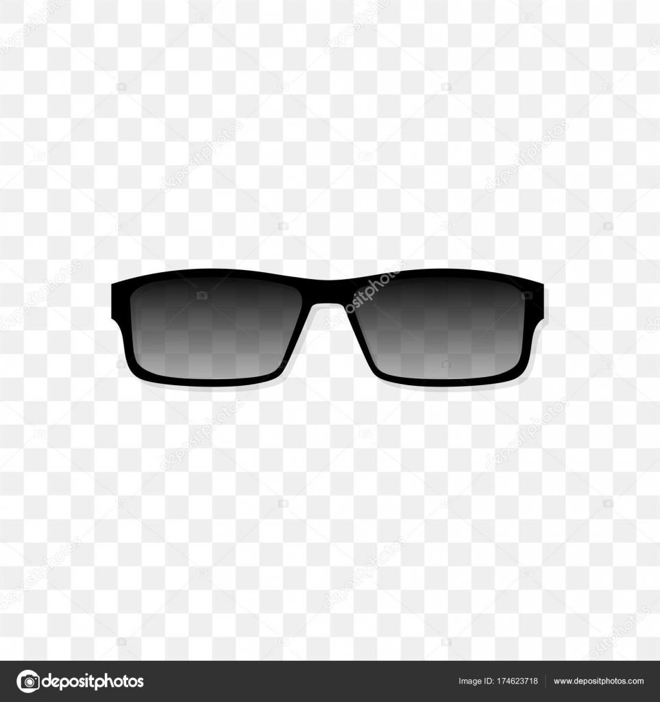 b0bbd549603a6 Óculos de sol realistas com um vidro translúcido preto sobre um fundo  transparente. Proteção contra