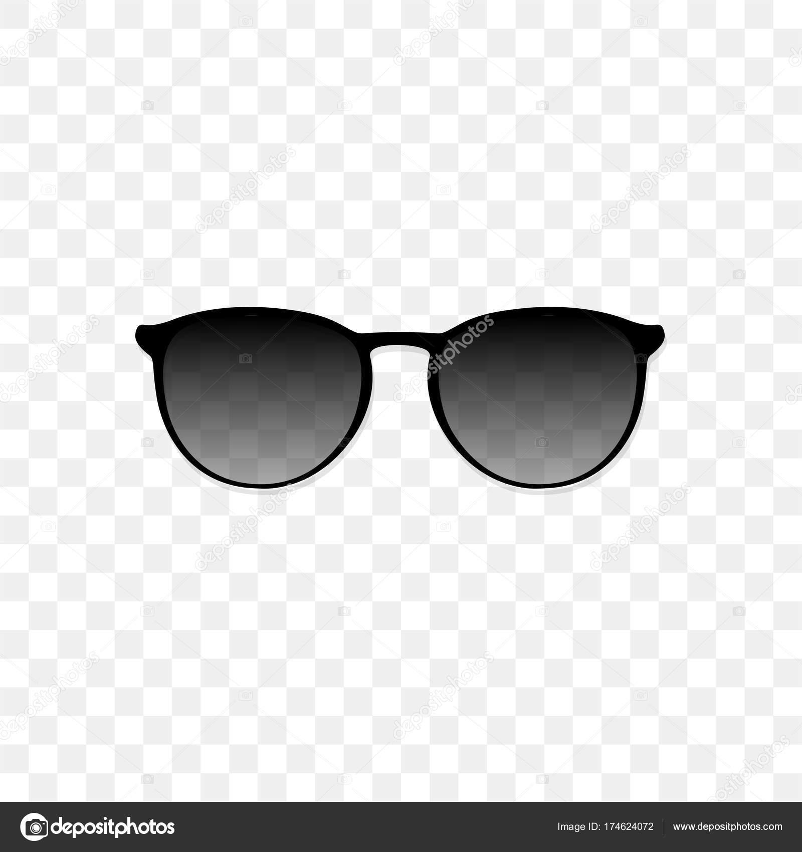Реалістичний сонцезахисні окуляри з напівпрозорого чорного скла на прозорим  фоном. Захист від сонця і УФ-променів. Моди аксесуарів Векторні ілюстрації  ... 29da75f6298a4