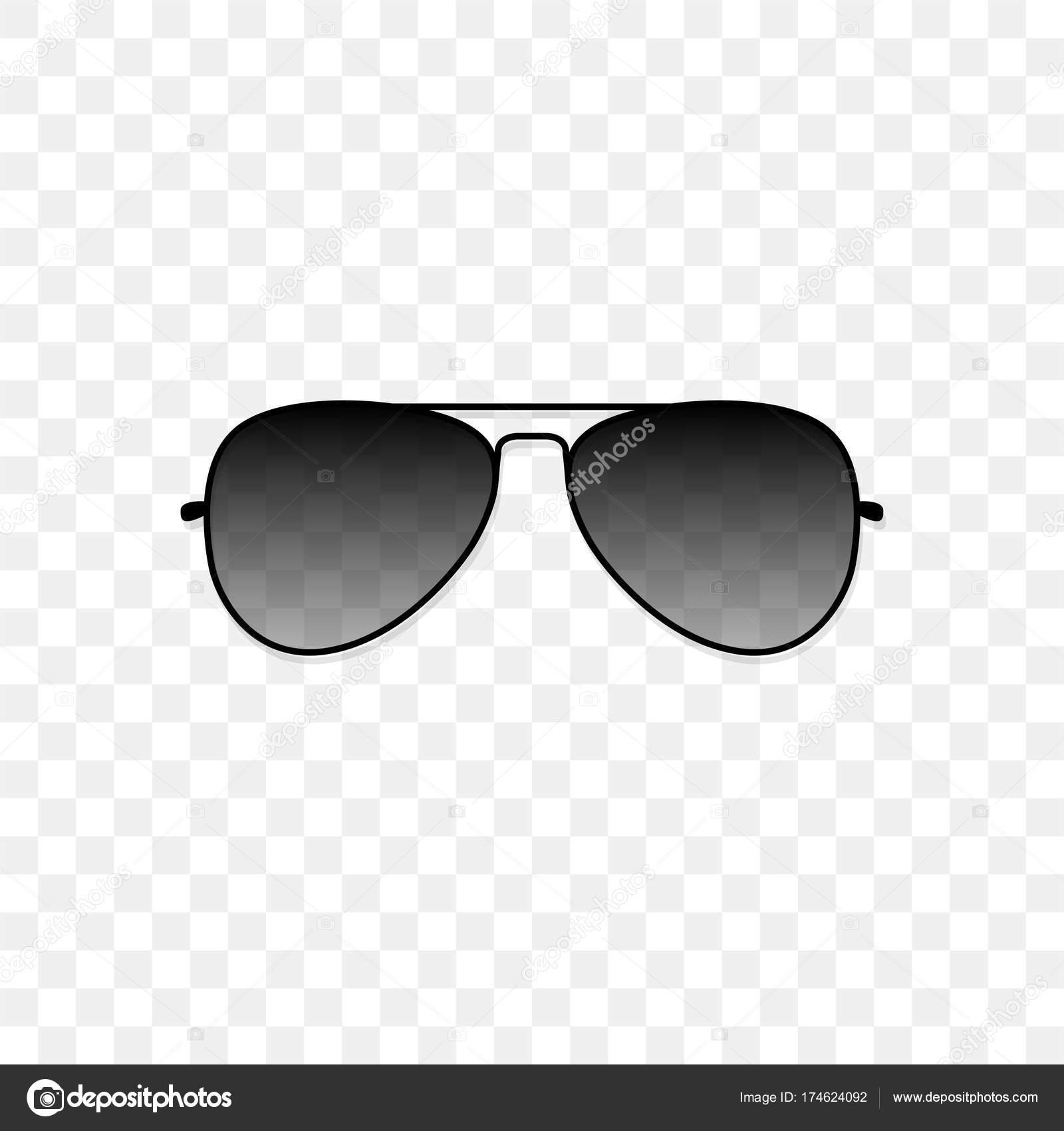 Realistische Sonnenbrille mit einem transluzenten schwarzen