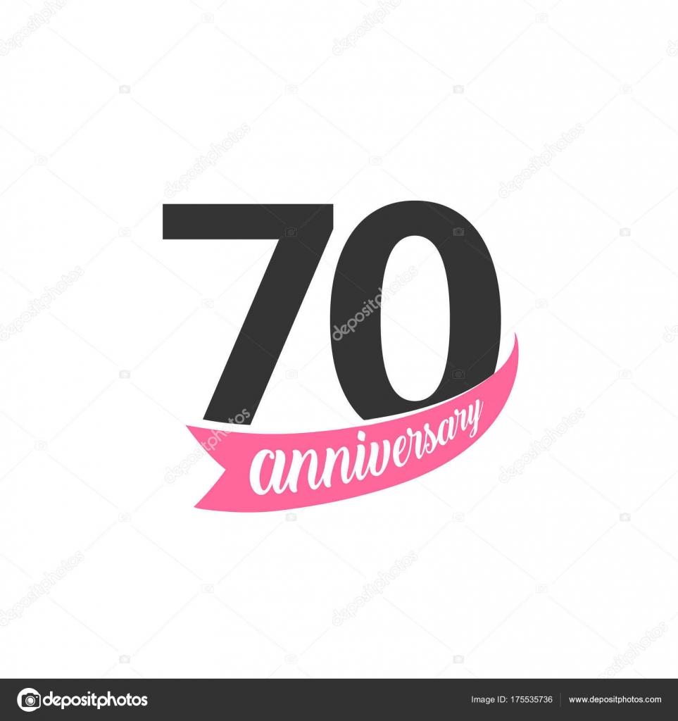 Septuagésimo Aniversario Vector Logo Número 70 Ilustración
