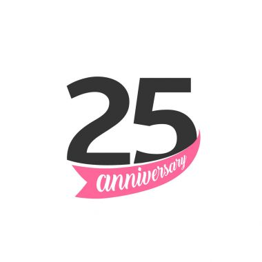 Twenty five Anniversary vector logo. Number 25. Illustration for greeting card, invitation, poster, marriage, commemoration, certificate.