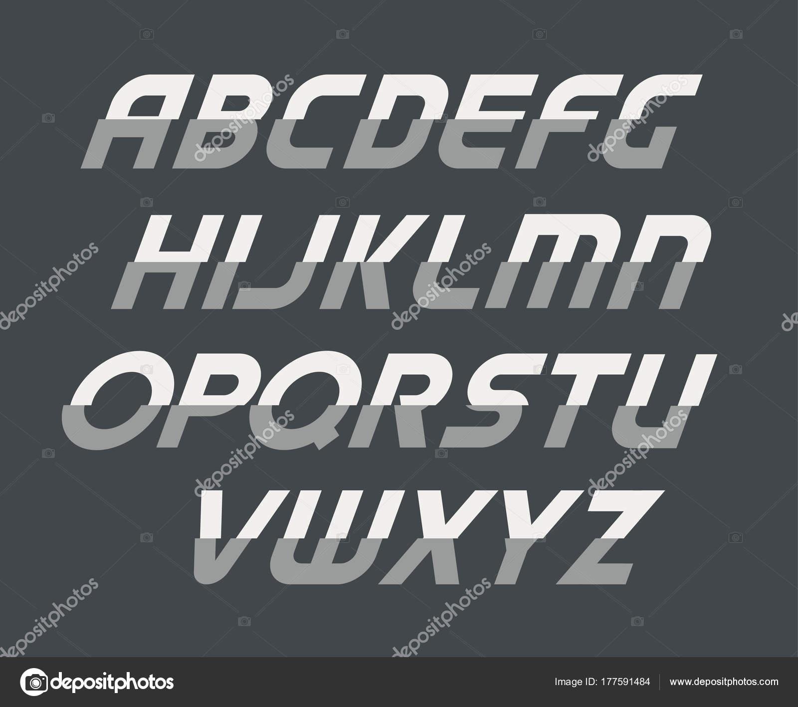 Alphabet En Majuscule Cursive De Sport Police De Technologie