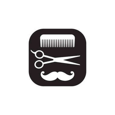 Hairdressing black and white icon, vector abstract logo on white background. Comb, scissors, mustache. Hairdressers tools set.