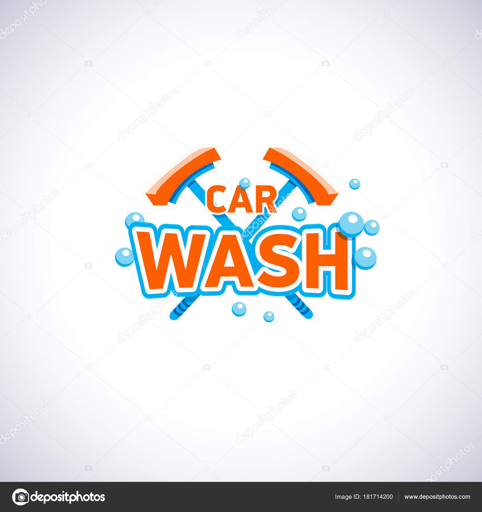 Lavado de coches emblema de estilo de dibujos animados de burbujas ...