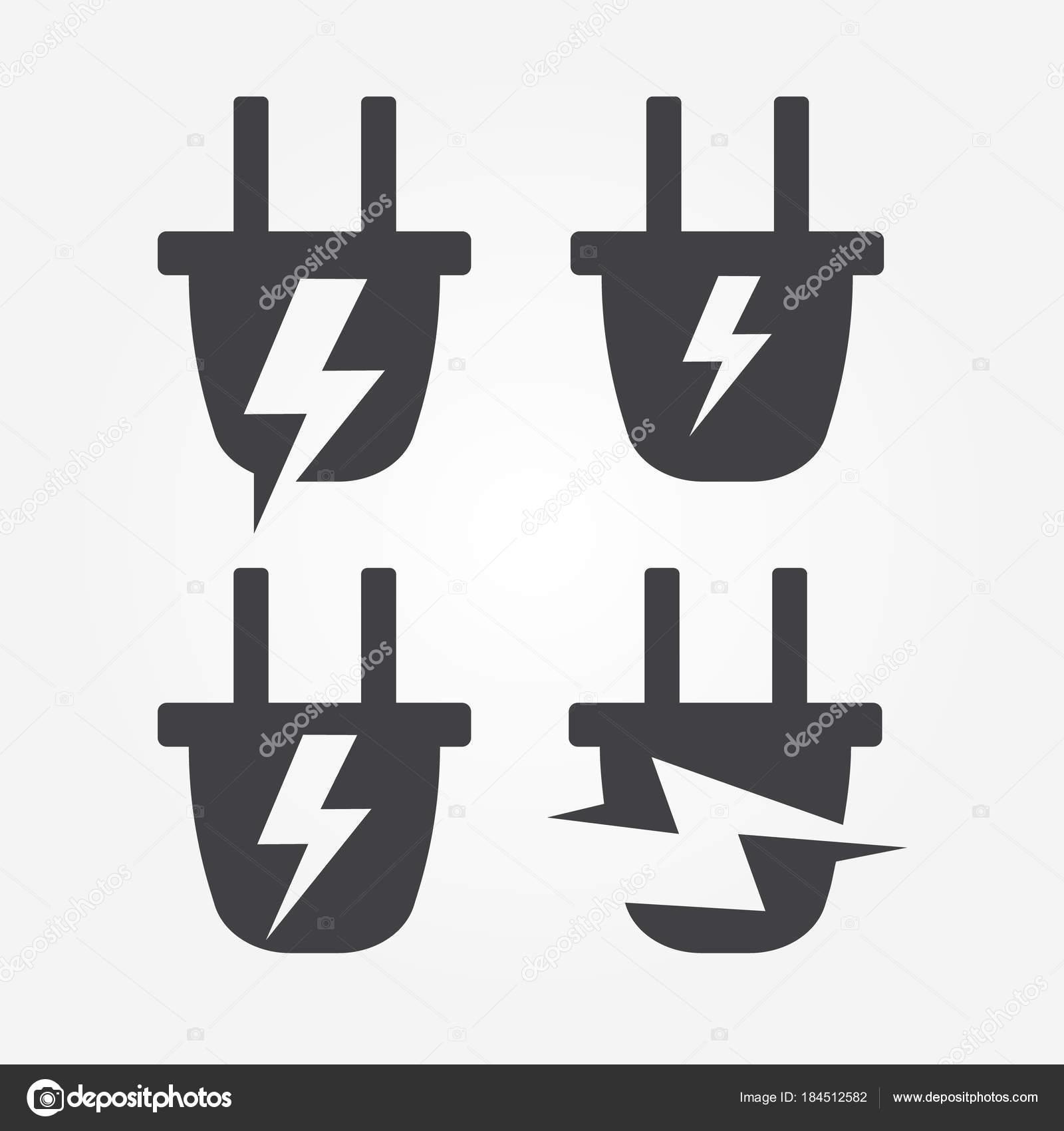Stecken Sie in Steckdose mit Blitz, Energie-Logo-Element, abstrakt ...