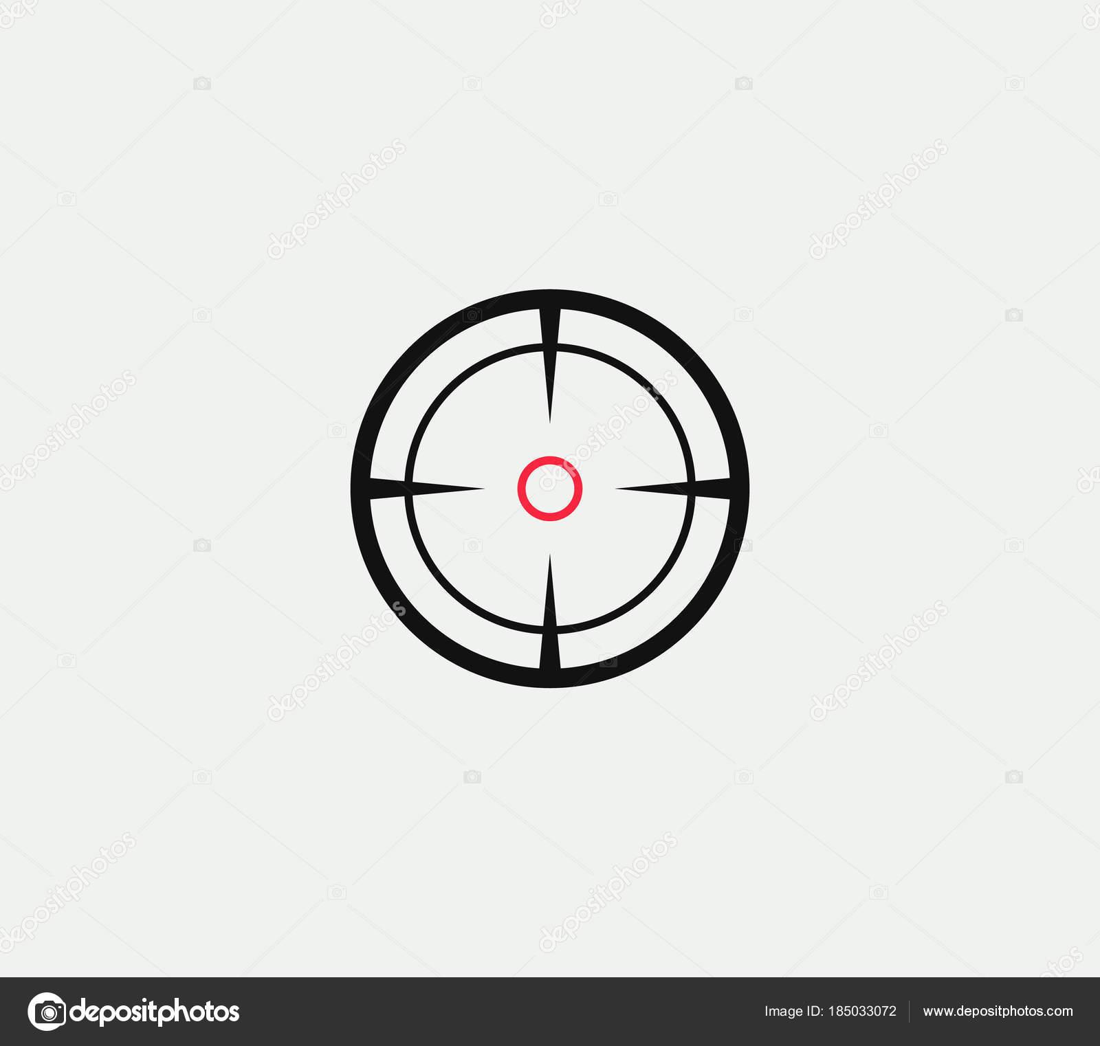 Vector objetivo lineal estilizado icono, signo abstracto objetivo ...