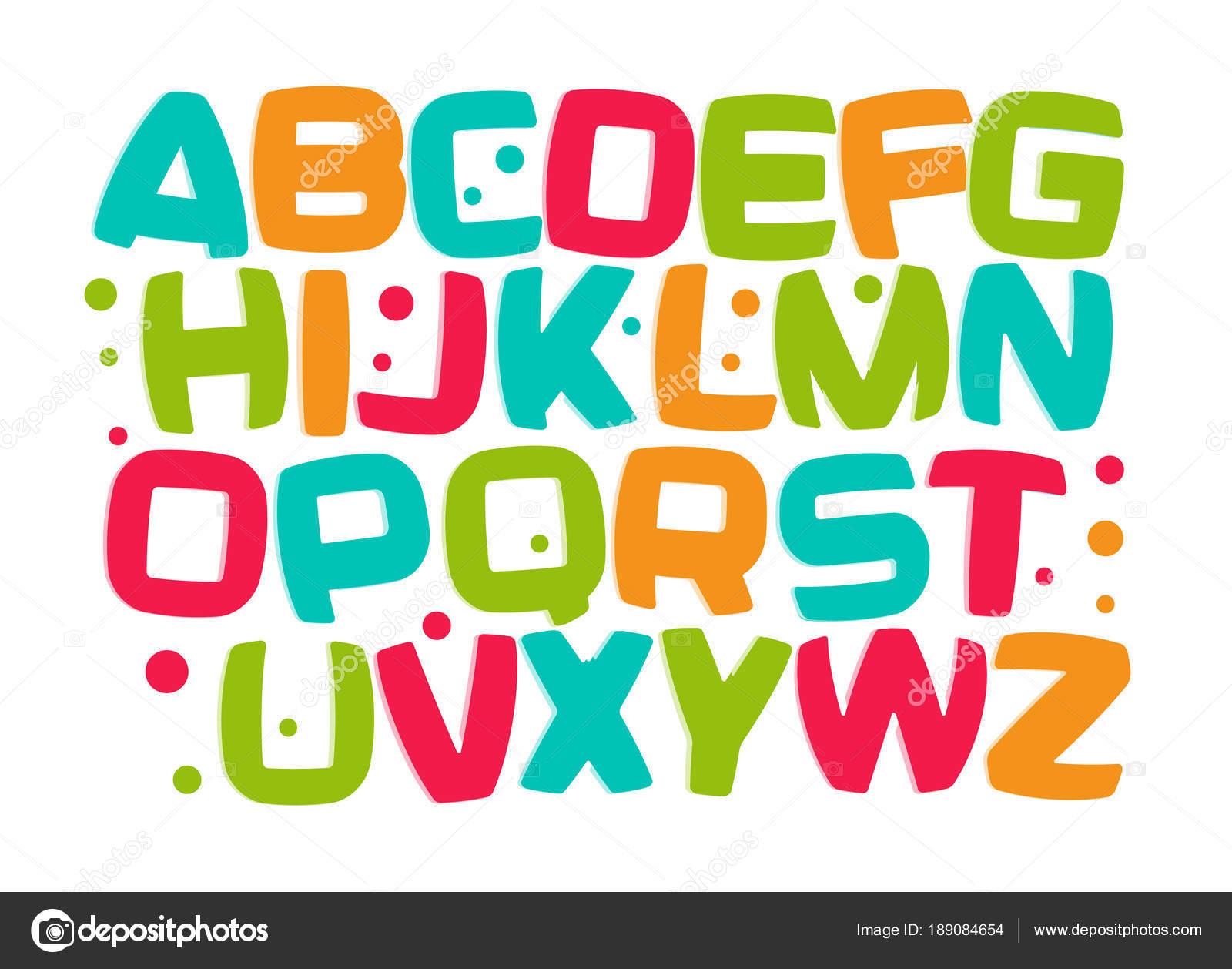 Alfabeto De Los Ni Os Fuente De Colores De Dibujos Animados Ni O  -> Sala En Ingles Dibujo