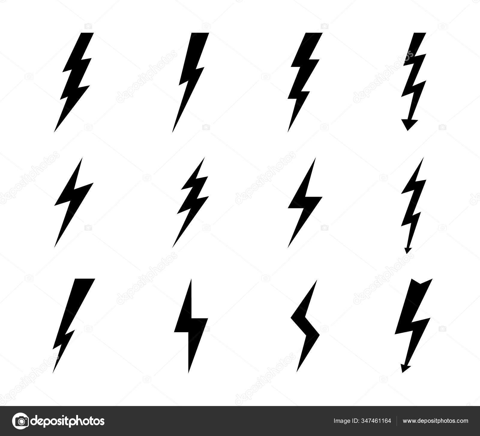 Lightning Bolt Icon Electric Power Arrow Thunderbolt Strike Black ...