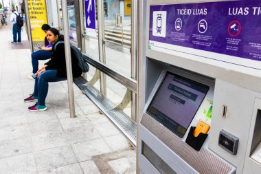 The tram Luas ticket machine at a station in Dublin, Ireland