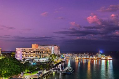 The dock and harbor at the Port of Cairns at dusk in Queensland, Australia