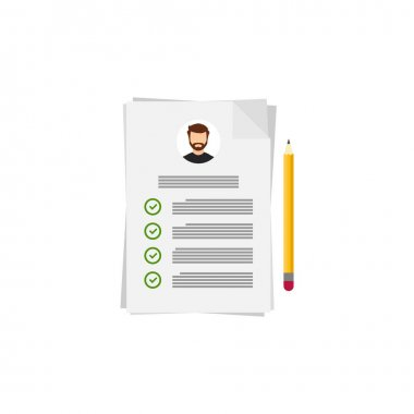 Flat resume and pencil  for cover design, vector