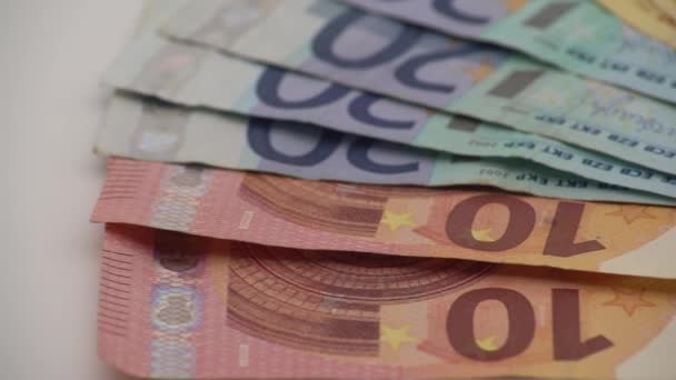 4K Dolly sliding shot euros bills of different values. A euro bill of five hundred. Cash money background. Real banknotes hundred. Good earnings. Issuing the salary. Credit percent-Dan
