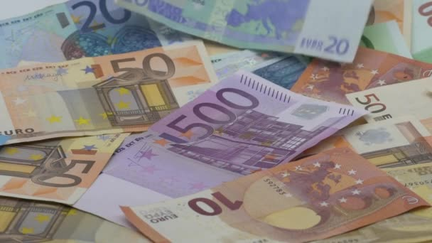 Slow motion of euros are falling. Banknotes of different values. Euro cash money background. Good earnings. Issuing the salary. Bank percent deposit. Credit percent. Successful business-Dan