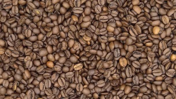 4k Top Of View Of Texture Of Roasted Coffee Beans Rotate-Dan