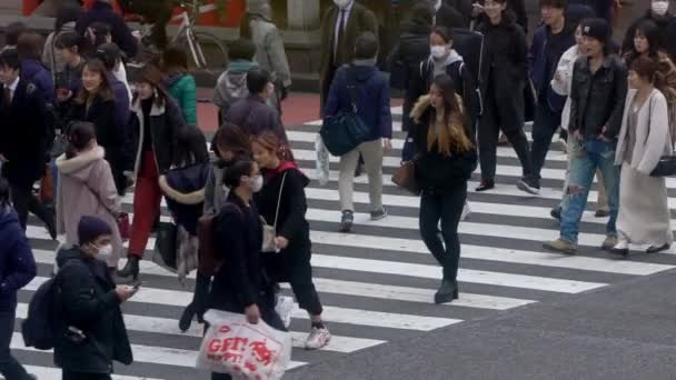 Tokyo, Japan-04 February, 2020: Slow motion of crowd pedestrian crossing Shibuya. Elevated view over asian people locals and tourists walking in busiest road intersection street-Dan