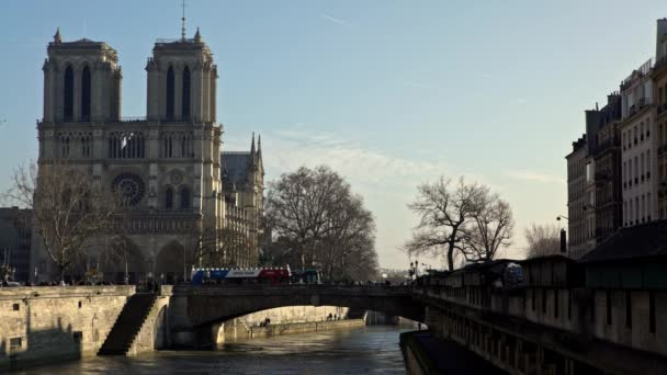 Paris, France-14 January, 2018: 4K, Notre-Dame Paris on a winter day. Ancient catholic cathedral on the quay of Seine river. Famous touristic places and popular travel destinations of France-Dan