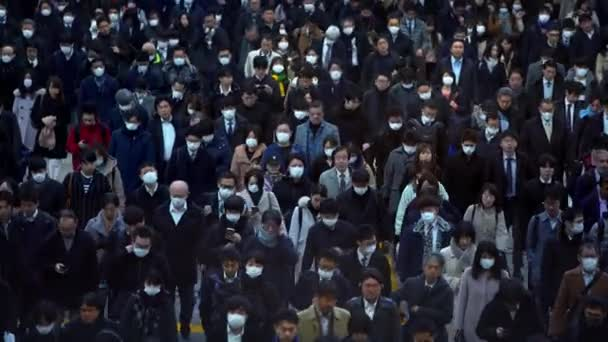 Tokyo, Japan-04 February, 2020: 4K, Aerial of people at Shinagawa Station. Japanese business men and women walk to work. Passengers walked of world's busiest transport hub with daily usage.-Dan