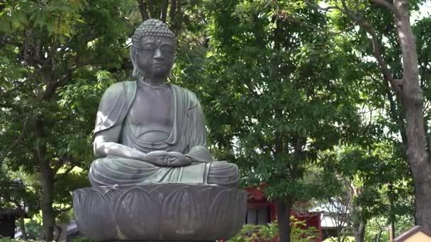 4K socha Buddhy se zelenými keři a stromy. Klidná scéna ve slavném starověkém buddhistickém chrámu Senso-ji v Asakuse. Japonský shinto svatyně Sensoji v Tokyo City, Japonsko Kinryu-zan. -Dan