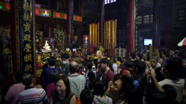 Tainan, Taiwan-05 February, 2019: 4K, Luerhmen Tianhou Temple of Matsu. Asian people performing religious rituals during first days of Chinese New Year. Mazu is the goddess of sea in Taoist faith-Dan