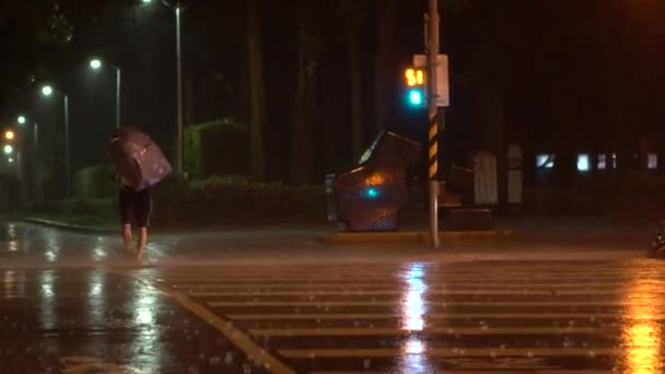 Ein Fußgänger mit Regenschirm quert während des Taifuns Nesat in Taipeh City die Straße. Extremer Wind und Regen in der Nacht. Starke Hurrikanwinde bei Taiwan-Dan