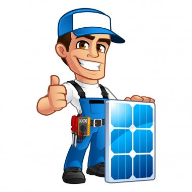 Technician installer of solar panels