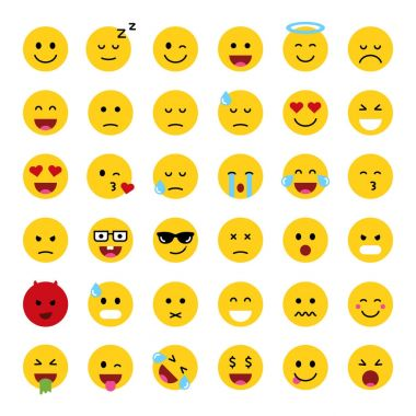 Set of cute smiley emoticons,