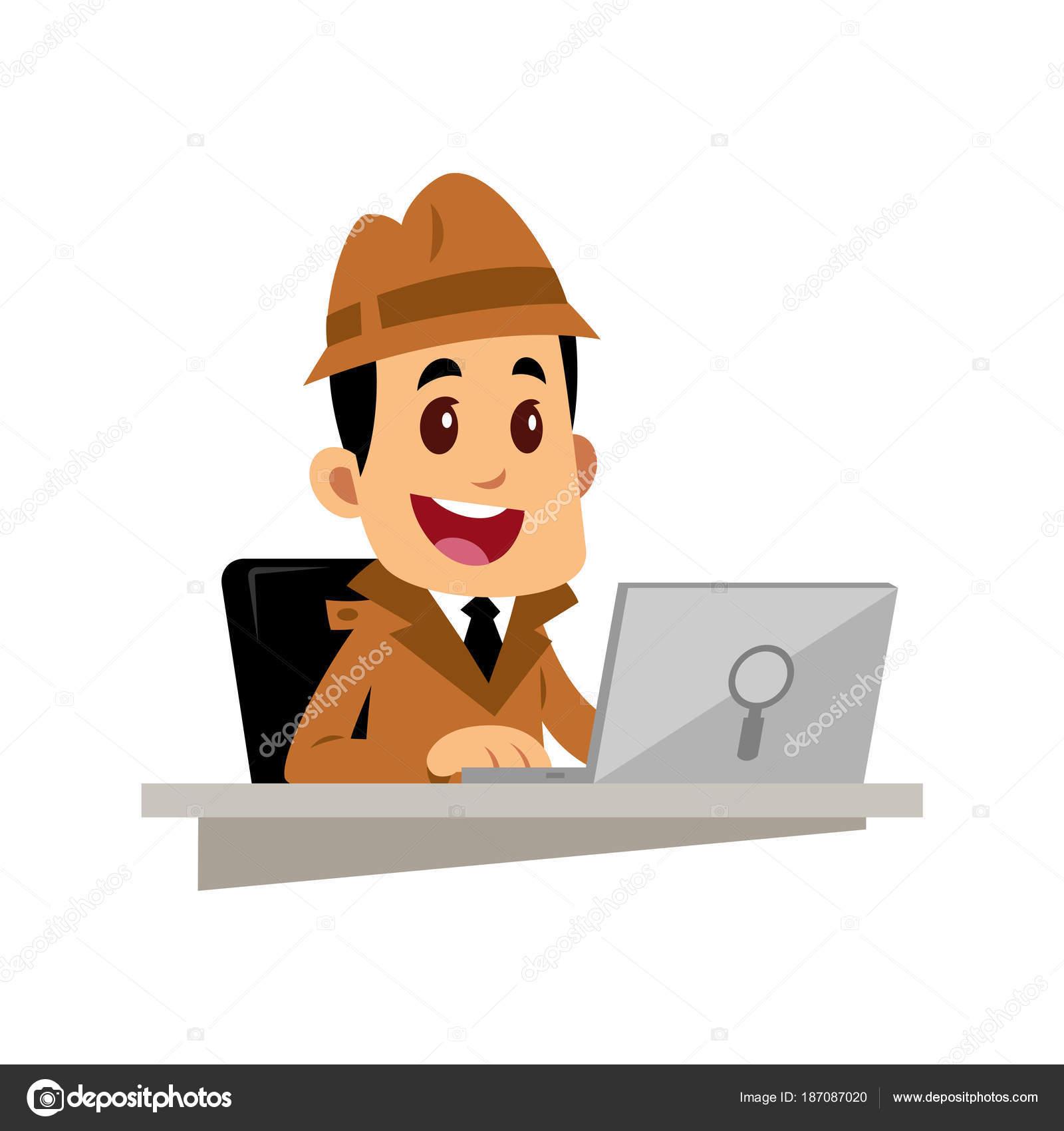 Vector Drawing Detective Man Working Laptop — Stock Vector ...