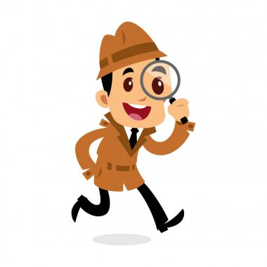 Vector drawing of a detective man, he is looking for clues