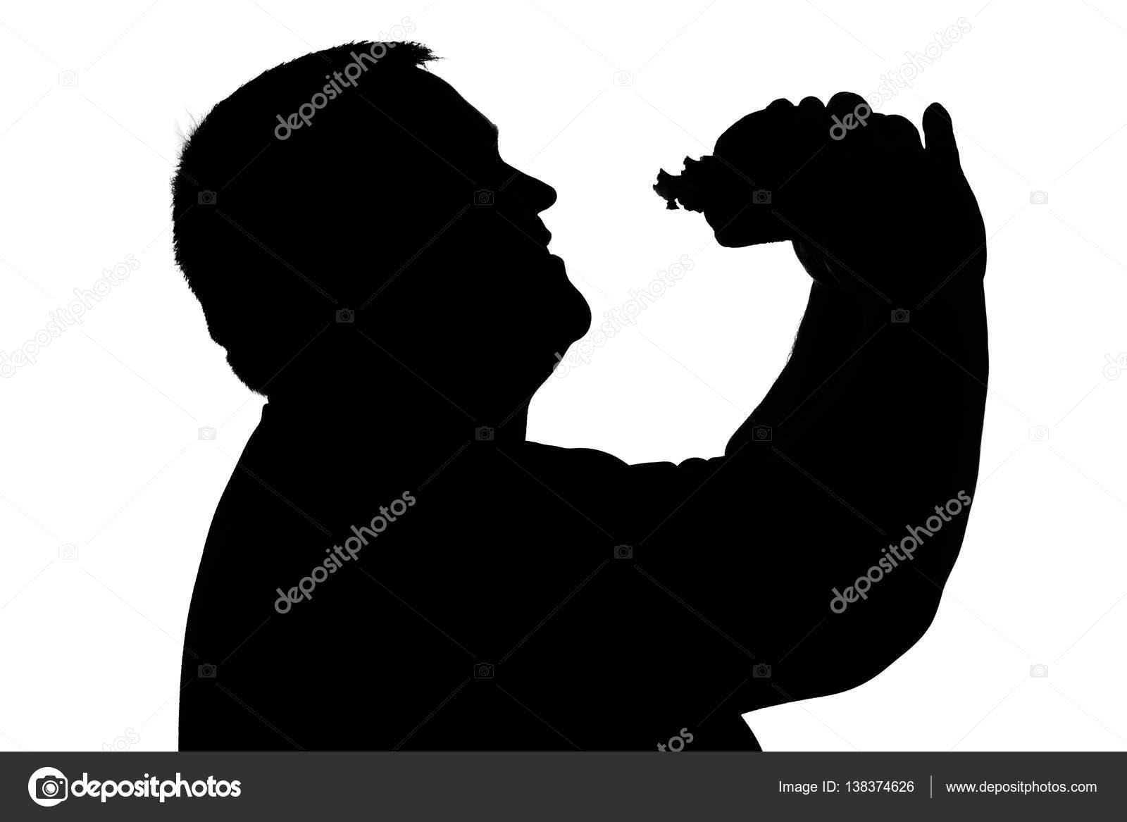 Silueta De Un Hombre Con Sobrepeso Comiendo Hamburguesa