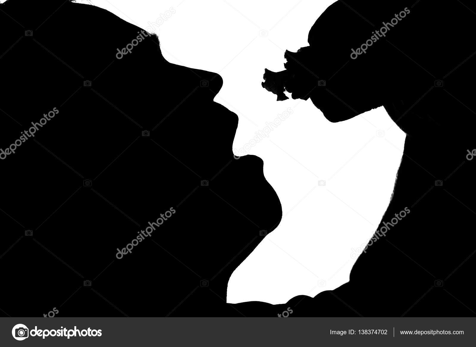Black And White Silhouette Of A Man With Overweight Eating Fast Food