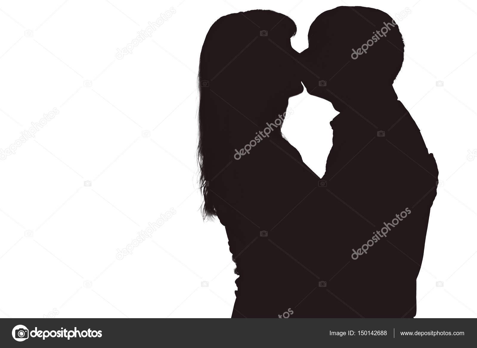 Man and woman kissing stock photos