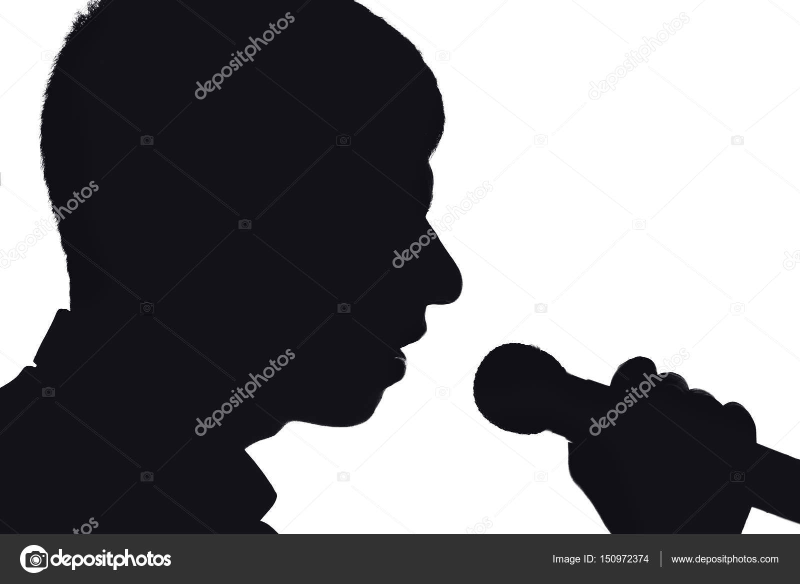 Silueta De Una Joven Cantante De Pop