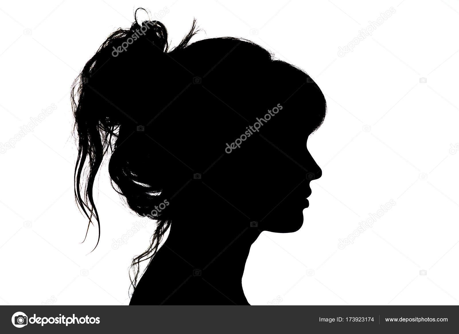 Perfil Mujer Silueta Cara Larga Pelo Vectores Eps