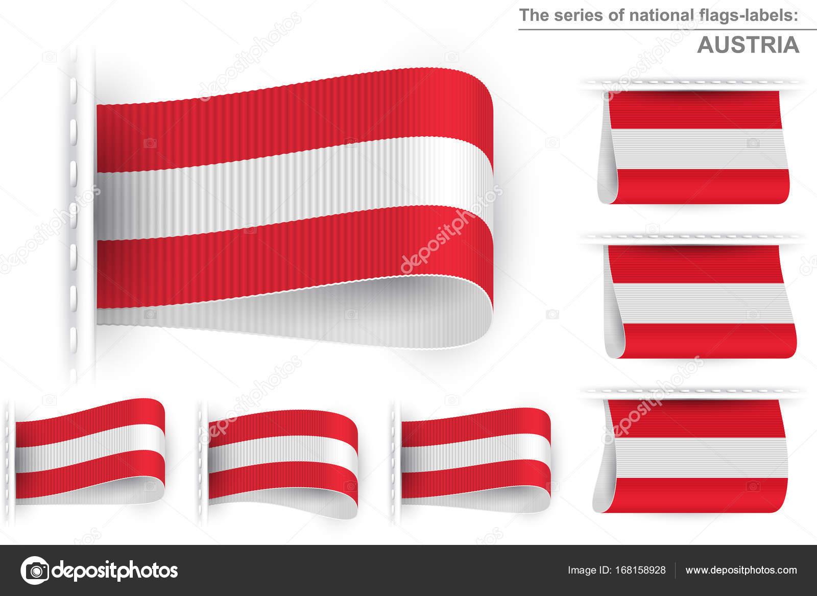 Flag Tag Kleider Label Aufkleber genäht Set Österreich — Stockvektor ...